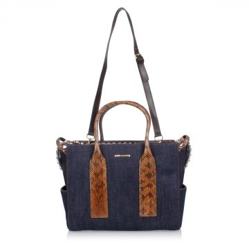 Denim Tote Bag with Rhinestones Applied