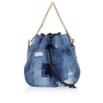Denim Backpack With gold Tone Chain