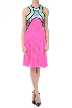 Silk Dress Sleeveless With Pleated Skirt
