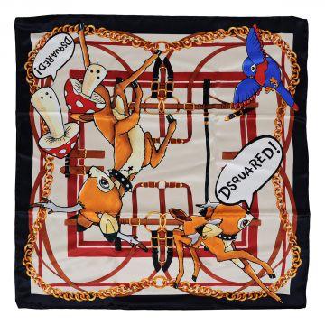 Foulard in Seta con Stampa Cerbiatto 70 x 70 cm