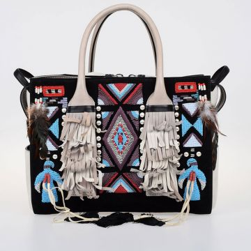Leather Hand Bag With Embroidery and Fringe