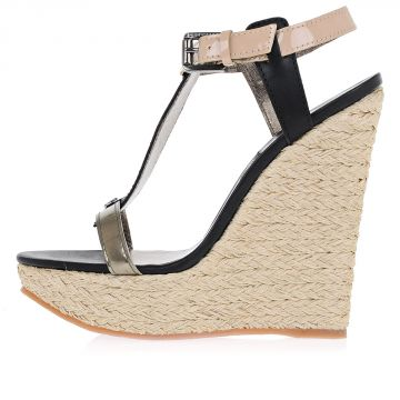 Leather and cord Wedges 15 cm heel