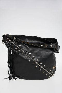 Studded Leather Shopper Bag