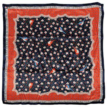Floral Printed Silk Foulard 70 x 70 cm