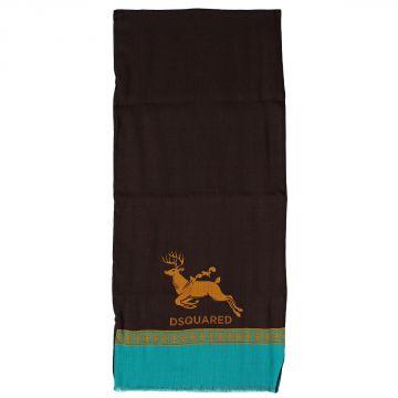 Deer Printed Silk Scarf 140 x 30 cm
