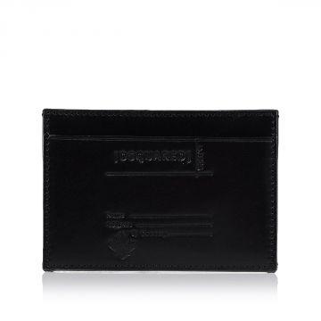 Porta Carte di Credito in Pelle con Stampa in Rilievo
