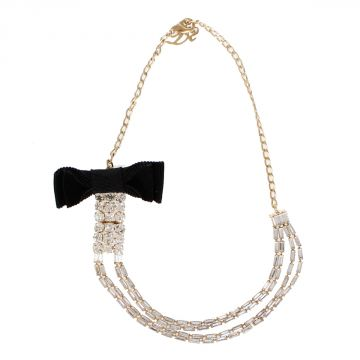 Ribbon Brass Long Necklace