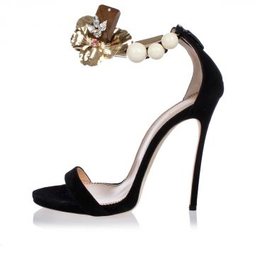 Sandali in Suede con Applicazione su Cinturino Tacco 12 cm