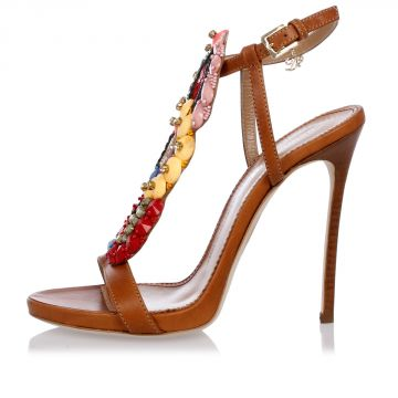 Leather Sandals with Jewel Details 12 cm