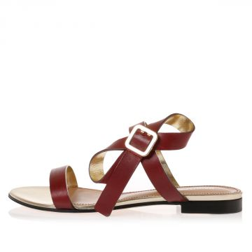 Leather Flat Sandals with Bow