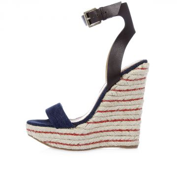 Denim and Woven Wedges 15 cm heel