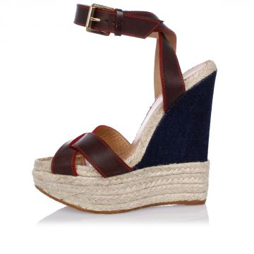 Leather Wedge Espadrilles Sandals 14 cm
