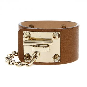 Brass and Calf Leather Bracelet with Studs