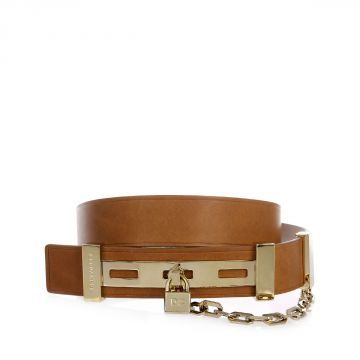 3.5 cm Leather and Brass Belt with Chain