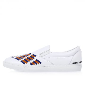 Sneakers Slip On con Inserti Blu e Arancio in Pelle