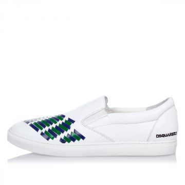 Sneakers Slip On con Inserti Blu e Verde in Pelle