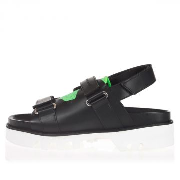 Leather Sandals with Fluo Tone Details