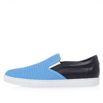 Woven Leather Slip On Sneakers