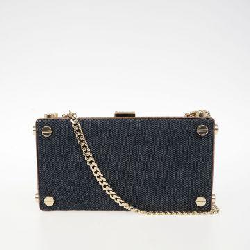 Reptile Leather and Denim Shoulder Bag