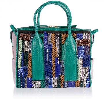 Embroidered Bag with Python Skin Details