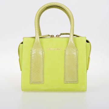 Fabric & Leather Bag with Snake Skin Details