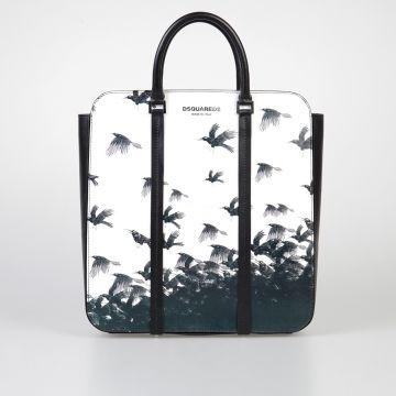 Crow Printed Leather Shopping Bag
