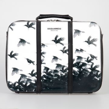 Crow Printed Leather Business Bag