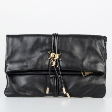 Leather Clutch with Golden Tone Metallic Details