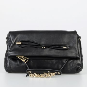 Leather Shoulder Bag with Golden Tone Metallic Details