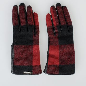 Leather & Checked Wool Gloves