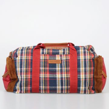 Checked Fabric & Leather Duffle Bag
