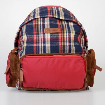 Checked Fabric & Leather Backpack