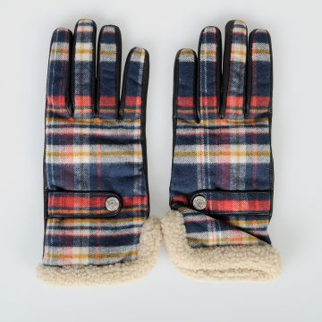 Leather & Checked Cotton Gloves