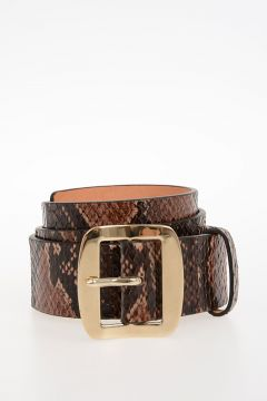 40mm Snake Printed Leather Belt