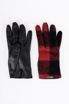 Leather and Cashmere Checked Gloves