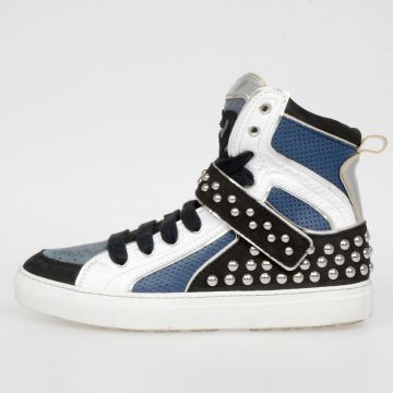 Leather High Sneakers with Studs