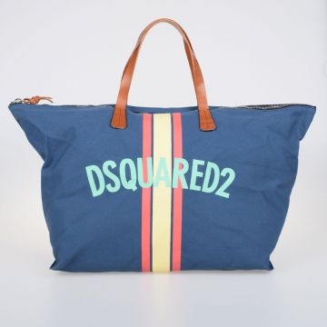 Borsa Shopping in Canvas con Dettagli in Pelle