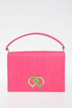 Python Skin Top Handle Bag