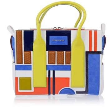 Patchwork Bag with Python Skin Inserts