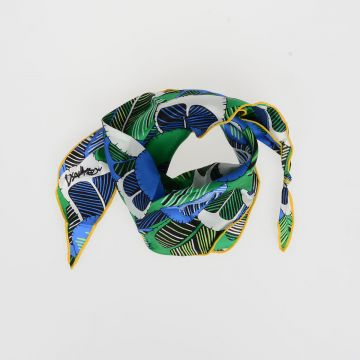 Silk Twill Foulard with Feathers Print