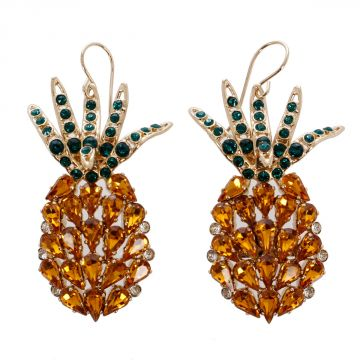 Pineapple Swarovski Crystal Earrings