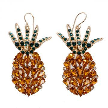 Orecchini Ananas con Swarovki cristalli