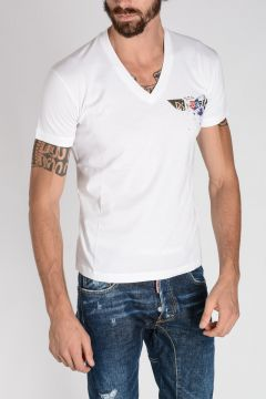 T-shirt CHIC DAN FIT in Cotone Jersey Con Scollo a v