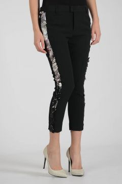 Ankle Zip Pants with Paillettes