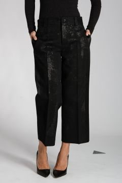 Wool Blend Pants with Silk Details