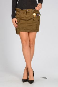Stretch Cotton Mini Military Skirt