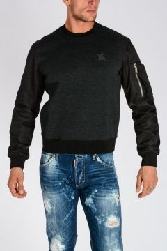 Stretch Virgin Wool Blend Sweatshirt