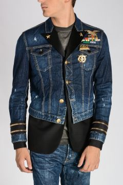 Military Brooch Embellished Denim Jacket