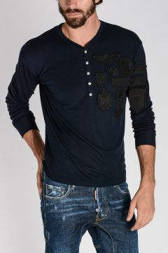 Virgin Wool Henley Sweater with Patches