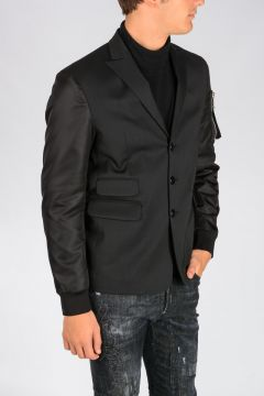 Single Breasted Stretch Virgin Wool Jacket